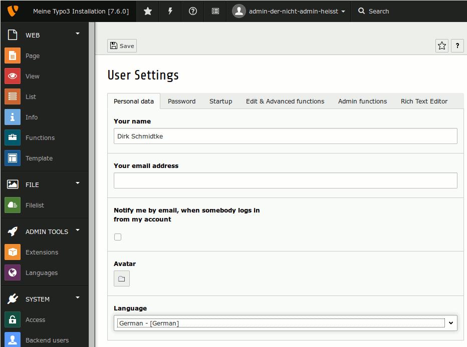 ist eine neue Sprache in den Benutzer-Einstellungen ausgewählt, fordert Typo3 dazu auf, sich aus- und wieder einzuloggen.