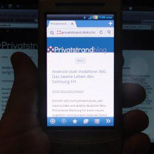 Samsung i8320 unter Android (CynagonMod) mit dem Boat Browser